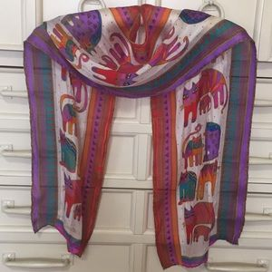 Laurel Burch cat print silk scarf